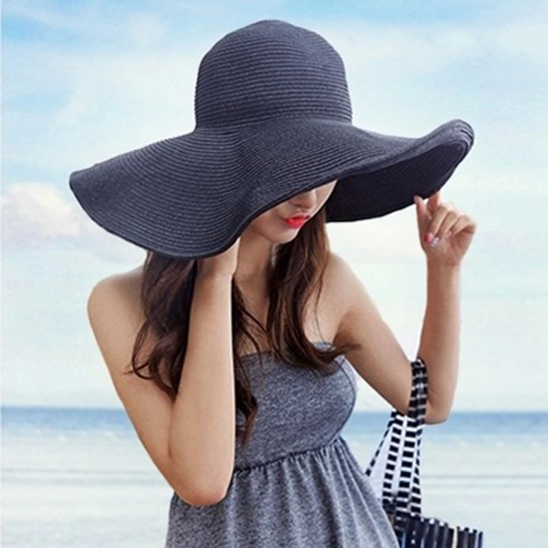 Handmade Weave letter Sun Hats For Women foldable sun block UV protection Large Brim Straw Hat Outdoor Beach Summer Caps glris
