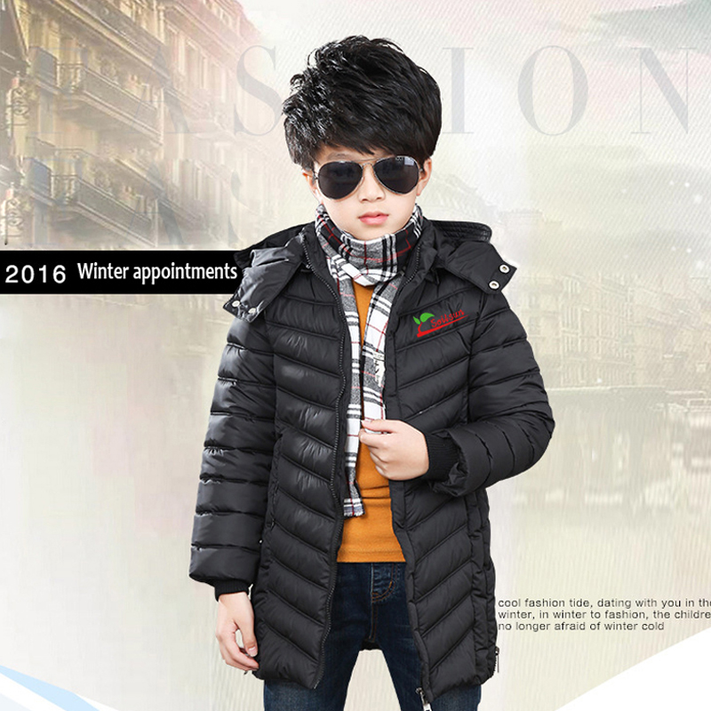 ФОТО Boys Winter Jacket New Cotton Hooded Long Active With Zippers Child Winter Coat