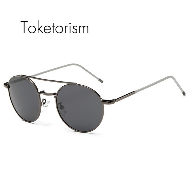 Toketorism font b Fashion b font Elegant Sunglasses women metal round sunglasses vintage super flat top