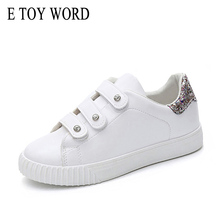 цены E TOY WORD Fashion New Women's Platform White Shoes 2017 Imitation Leather Casual Shoes Women Trainers Walking Skate Shoes