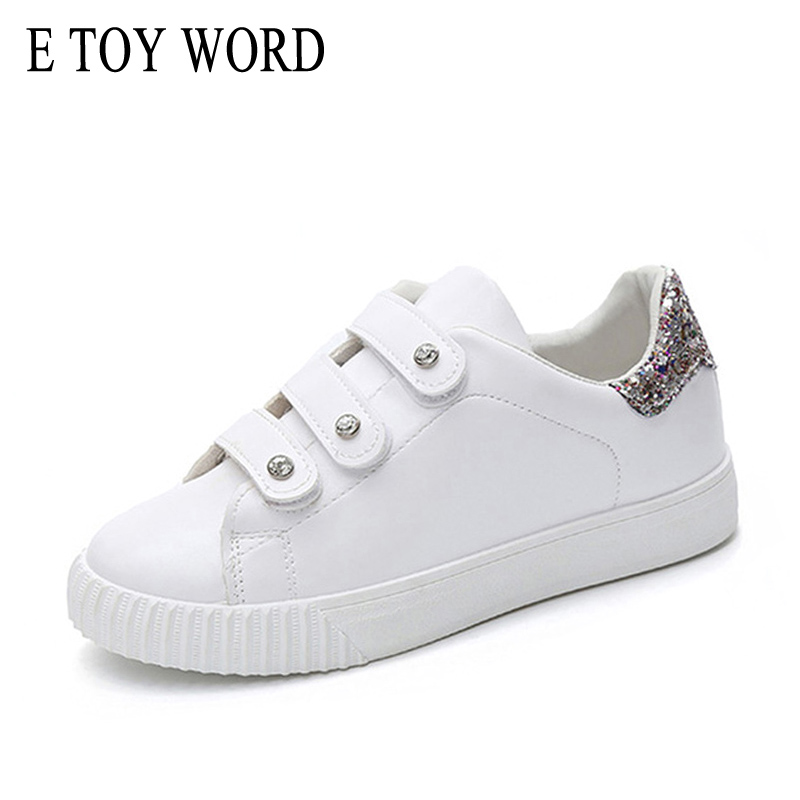 E TOY WORD Fashion Spring Women flats white sneakers women trainers Walking Sequins zapatillas mujer casual shoes Size 35-40