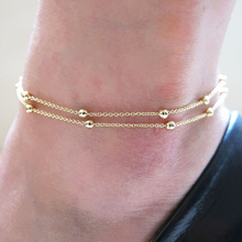 Summer  Gold anklet chain delicate Copper bead copper chain JK026