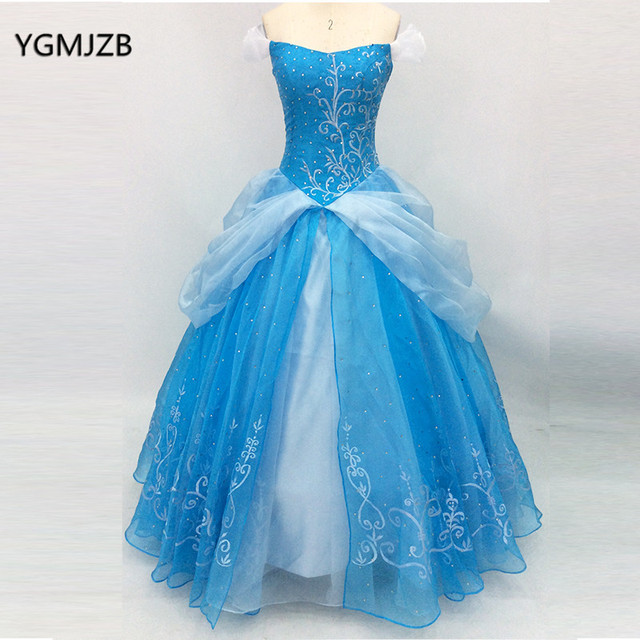 Vintage Blue Princess Ball Gown Long Prom Dress Beaded Embroidery