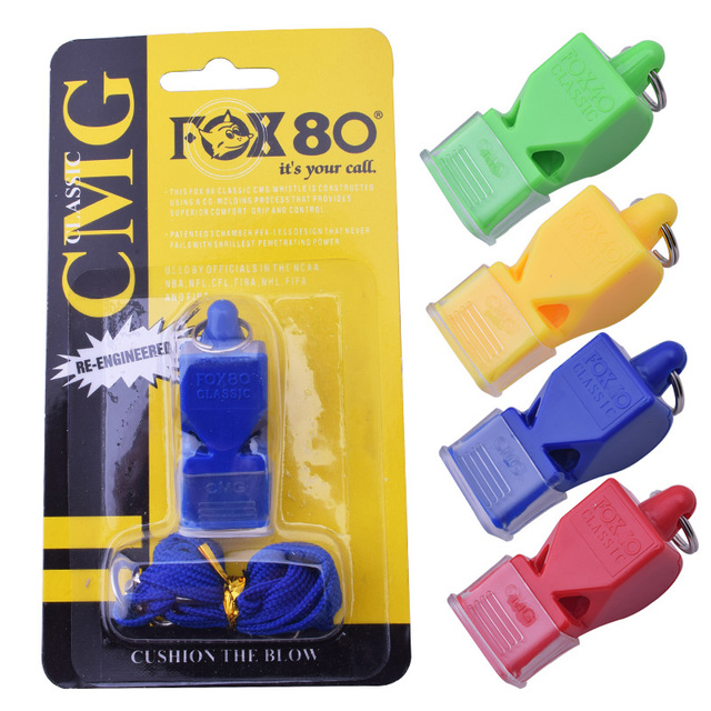 1Pcs Fox 80 whistle seedless plastic whistle professional soccer referee whistle basketball referee 4 colors whistle