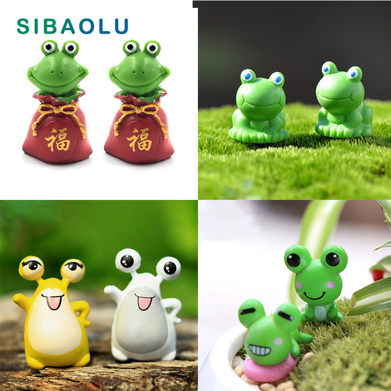 Mini Frog figurine animal Miniature fairy garden decoration Micro landscape Bonsai resin craft Home Birthday Car Cake Decorative