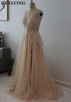 Deep V Neck Beading Crystal Champagne Prom Dresses 2017 Sexy Side Split Tulle Long Evening Formal