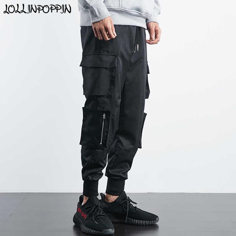 91287961 Hip Hop Men Cargo Jogger Pants Drawstring Elastic Waist Side Big Pockets  Streetwear Mens Casual Joggers
