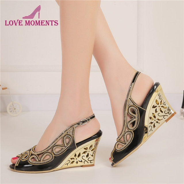 42c01145c81f4c 2018 Sexy Summer Sandals Black Color Bridesmaid Shoes Peep Toe Women Dress  Shoes Rhinestone Wedding Party Prom Shoes Wedge Heels
