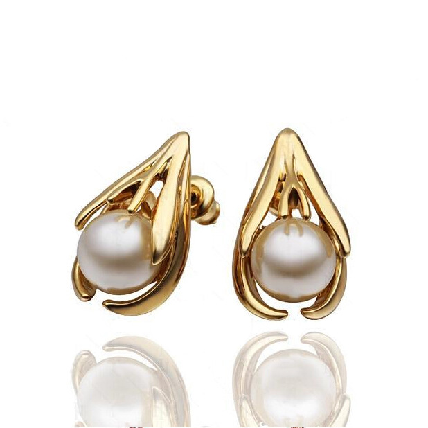 e64b74a78 Fashion Jewelry High Quality Rose gold-color Filled Austrian Crystal In The  Middle Of Pearl Stud Lovely Earrings