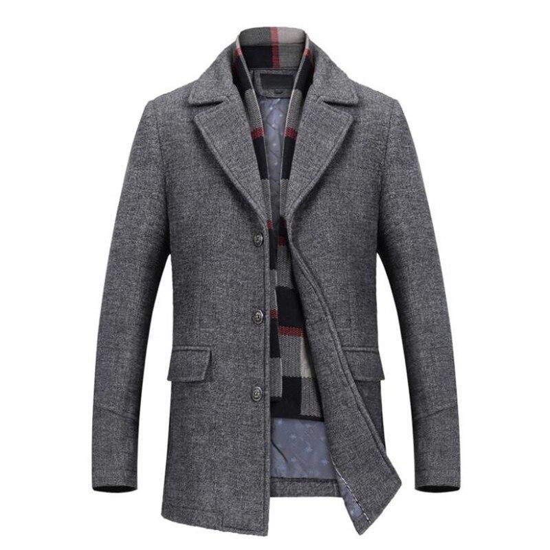 2018 giacca di lana di Inverno degli uomini di lana di alta qualità cappotto di modo casuale di affari degli uomini cappotto di trincea del rivestimento degli uomini Sciarpa del collare del Soprabito