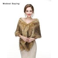 Mode Bruin Faux Fur Wedding Sjaals 2017 Imitatie Wasbeer Bont Bridal Shrugs Wraps Winter Warm Bolero Jas Bruiloft Accessoires