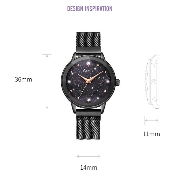 Luxury KIMIO Brand Women s Magnet Suction Clasp Watch Ladies Big Star Dial Dress Watches Stainless steel Mesh Belt Quartz Watch