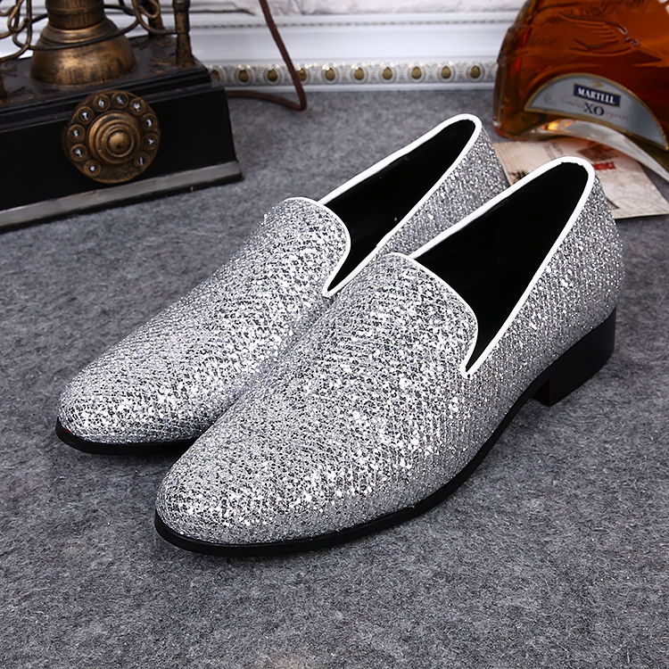 Fashion Silver Shiny Glitters Round Toe Luxury Men Loafers Slip On Flat Shoes  Men Party Chaussure Homme Plus Size 36-46