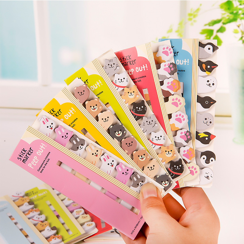 1 PCS Kawaii Stationery Cartoon Animals Marker Memo Pad Sticky Bookmark Flags Index Tab Sticky Notes Label Paper Stickers page flags green 50 flags dispenser 2 dispensers pack