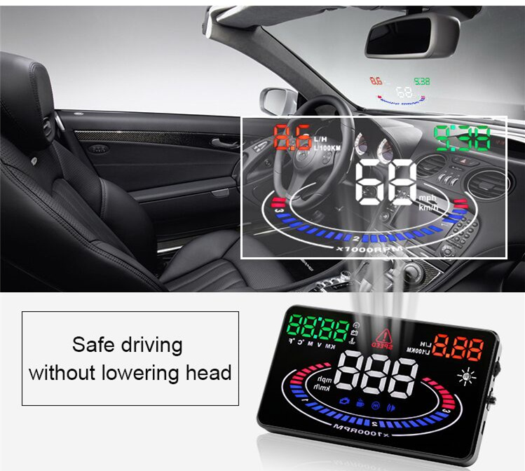 HUD head-up display auto OBD2 vehicle computer speed fuel consumption meter heads-up display speeding alert