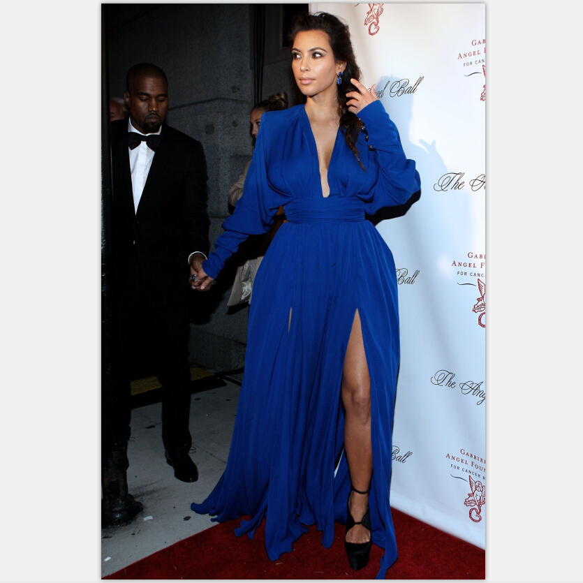 Elegant Sexy Deep V-neck Long Sleeves Side Slit Royal Blue Chiffon Formal Evening Party Prom Gown Mother Of The Bride Dresses