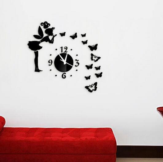 10Pcs Mirror Sun Acrylic Wall Clocks 3D Home Decor Diy Crystal Quartz Clock Art Watch