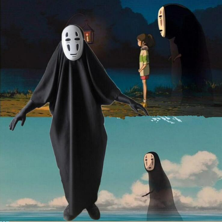 No Face Man Spirited Away Cosplay Costume With Mask Gloves For Halloween Costume Anime Miyazaki Hayao Faceless Cloak S-2XL