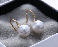 Hot sell Noble hot sell new free shipping 13376 Pearl Crystal Rhinestone Fashion Classic Ear Ball Drop Earrings Lady Women Gi