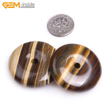 Gem-inside 30mm Natural Smooth Ring Circle Donuts Beads for Jewelry Making Necklace 1 piece Pendant DIY Jewellery(China)