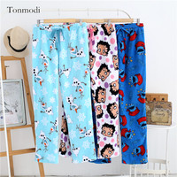 Women's Sleep Pants Winter Cartoon loose trousers thickening Women Sleep Bottoms Long Pants