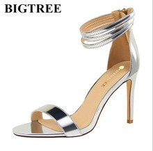BIGTREE 2017 European Elegant Shoes Woman Fashion Thin High Heels and Sexy one word with Sandals for women's shoes