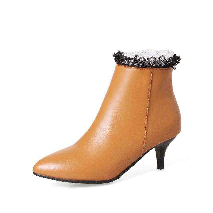 Pointu Bout Esveva Pu gris Dames Femmes 34 Style Noir Talons jaune 2018 Cheville Hauts Taille Bottes À Western Automne Cuir Mince Printemps En 43 x7fP7rwXq