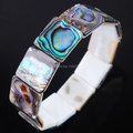 Free shipping Natural New Zealand Abalone Shell Square Beads Art Bracelet 7 Inches PK1899