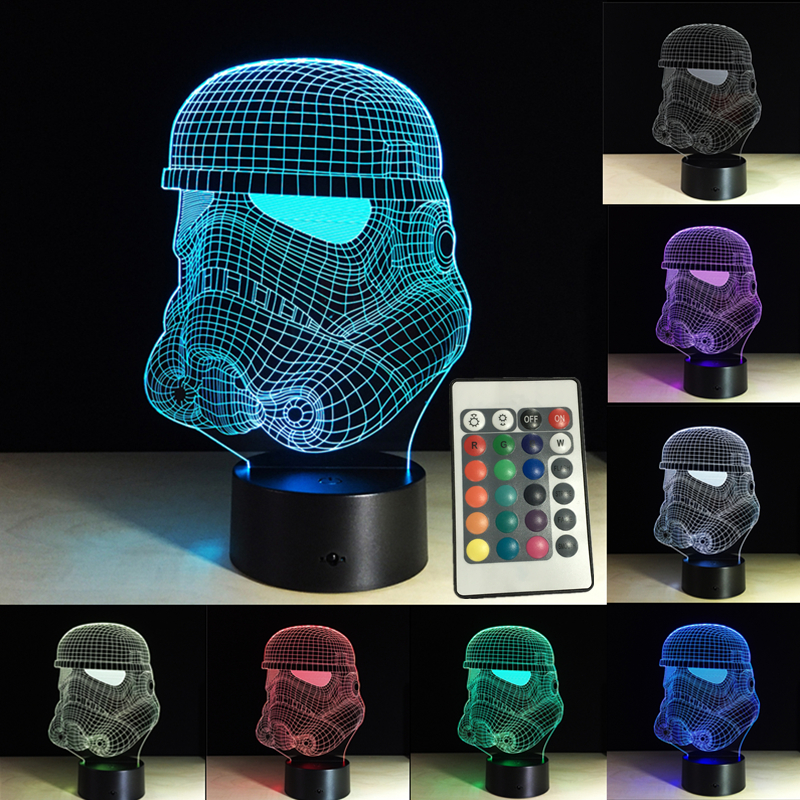 Led Night Lights Obedient Colorful 3d Night Lights Star Wars Storm Trooper White Soldier 3d Lamp Led Night Light Touch Remote Rgb Remote Control Lighting