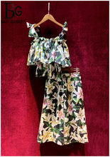 Baogarret High-End Custom Runway 100% Cotton Two Piece Set Bow Camis Tops + Wide Leg Pants Elegant lily Flower Print Suits
