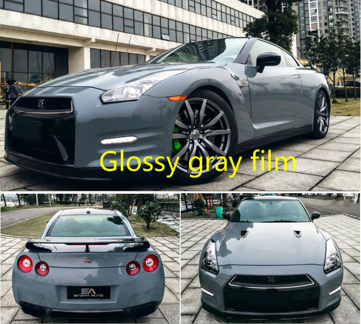 300mmx1520mm Glossy gray vinyl Auto Car Styling Car and motorcycle sticker Vinyl Wrap Film Air Release Sticker Decal Sheet