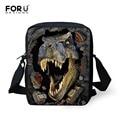 FORUDESIGS 3D Animal Print Dinosaurs Men Messenger Bag Jurassic World Park Mini Bags Tyrannosaurus Rex Travel Sling Bag Purse