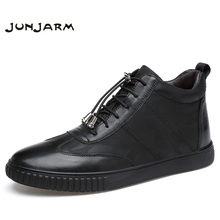 JUNJARM 100% Genuine Leather Men Ankle Boots Winter High Top Men Snow Boots Keep Warm Flats Boots Men Winter Shoes Size 38-45 genuine leather men ankle boots winter men snow boots fur warm plush fashion flats casual boots men winter shoes big size 48 p3