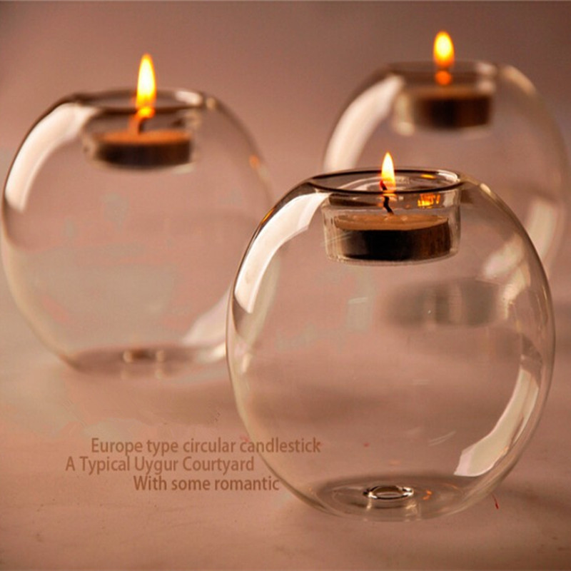 Wholesale New 2017 Glass Candlestick Tea Light Candle Holder Wedding Home Bedroom Table Decoration Gift