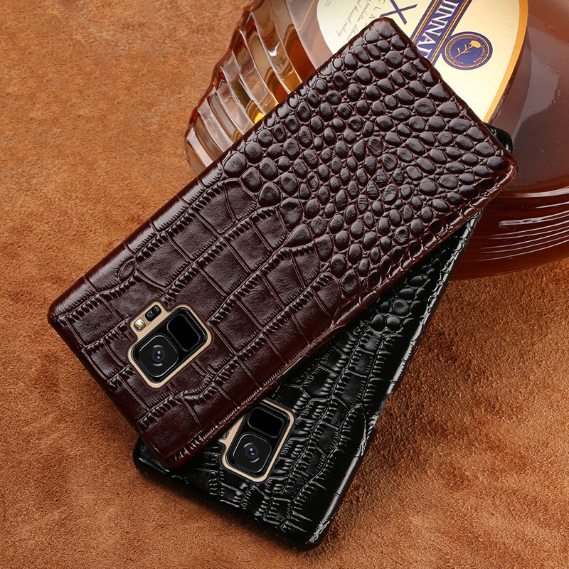 Echtes Leder Handy fall Für samsung galaxy s9 Plus S7 S8 A5 A7 A8 J5 J7 Hinweis 8 Krokodil Textur Luxus rindsleder Zurück abdeckung