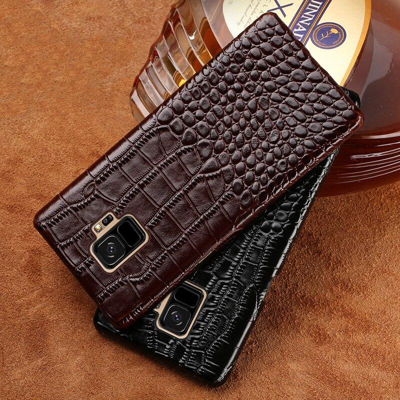 Véritable cas de Téléphone en cuir Pour Samsung S9 Plus Crocodile Texture couverture pour S7 S8 A5 A7 A8 J5 J7 2017 Note 8 cas