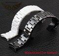 Ремешки 18 мм 22 мм высокое качество керамический ремешок для часов белый черный алмаз часы подходящие AR1400 1403 1410 1442 человек часы браслет
