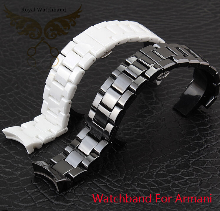 Watchbands 18mm 22mm High Quality Ceramic Watchband white black Diamond Watch fit AR1400 1403 1410 1442