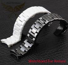 Bracelets 18 mm 22 mm de haute qualité en céramique Bracelet blanc diamant noir montre fit AR1400 1403 1410 1442 homme montres Bracelet