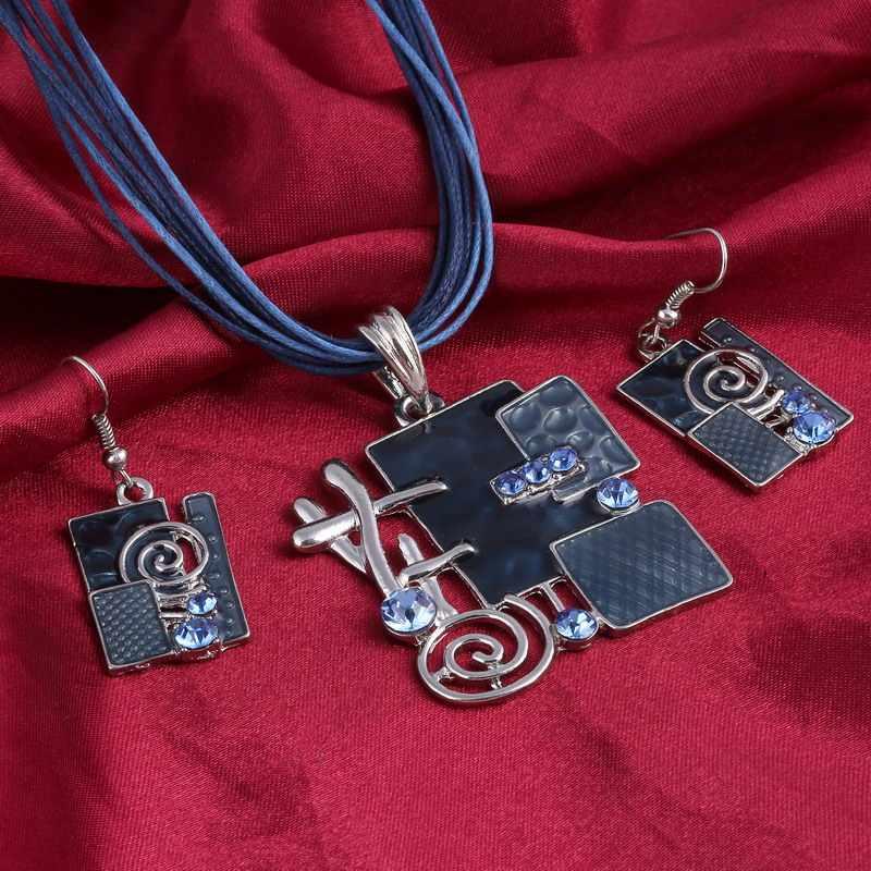 Boemia Set di Gioielli Smalto Delicato Lucite Pendente D'argento Placcato Più Strati di Cuoio Catena Girocollo Collana Orecchini Set Da Sposa