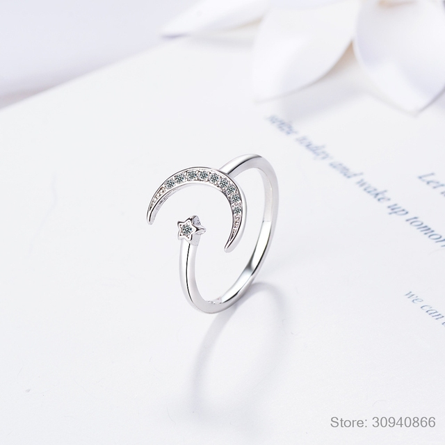 100% 925 Solid Real Sterling Silver Fine Jewelry Moon Star CZ Cocktail Opening Ring Sizable For Women Girl Gift DA27 4