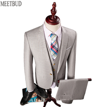 MEETBUD Brand fashion men suit wedding business casual slim fit party groom host Light blue light grey men suits dress 3 pieces