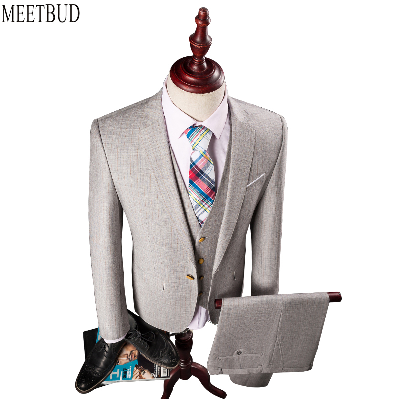 MEETBUD wedding slim fit groom men suits dress 3 pieces