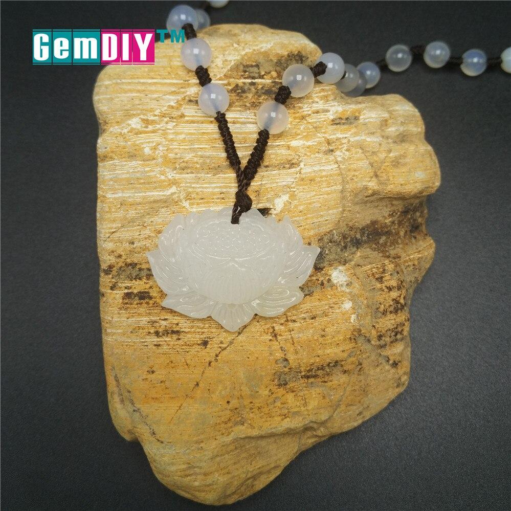 Натуральный белый камень Лотос Подвеска Цепочки и ожерелья амулет безопасный Lucky ювелирные камни Подвески из бисера ручной работы