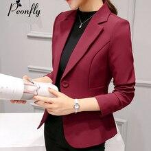 Peonfly дамы Пиджаки для женщин 2017, Новая мода одной кнопки блейзер Для женщин пиджак синий/красный Blaser женский пиджак Femme