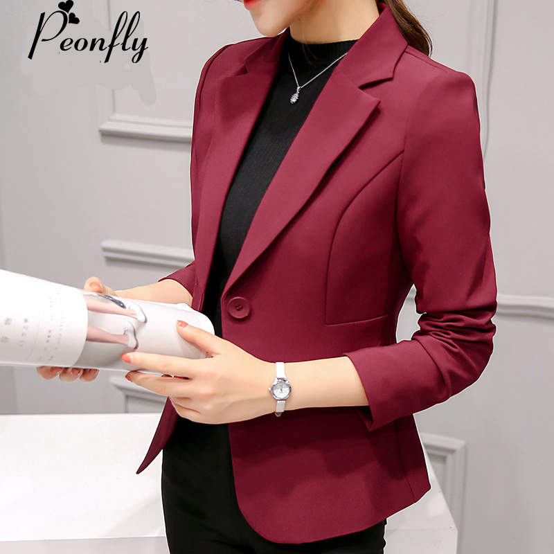 PEONFLY Ladies Blazers New Fashion Single Button Blazer Women Suit Jacket bule/red Blaser Female Blazer Femme