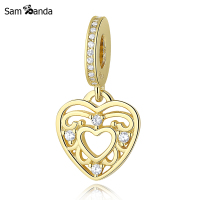 Authentic 925 Sterling Silver Pendant Charm Gold Romantic Heart Dangle Bead Fit Pandora Bracelet Bangle Diy
