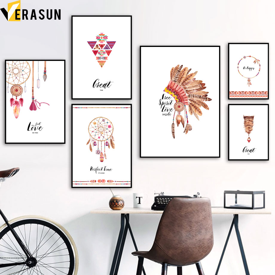 Abstract Indian Style Feather Arrow Dreamcatcher Posters And Prints Wall Art Canvas Painting Wall Pictures For Living Room Decor in Painting Calligraphy from Home Garden