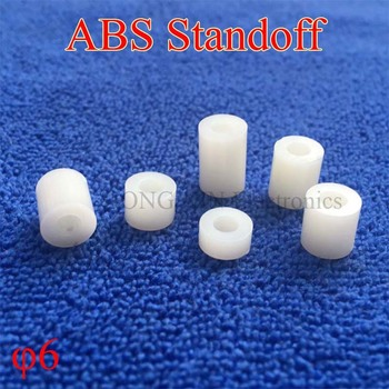 M6 White Round Hollow Standoff ABS Rround spacer standoff Non-Threaded Spacer Washer PCB Board Screw Spacers image