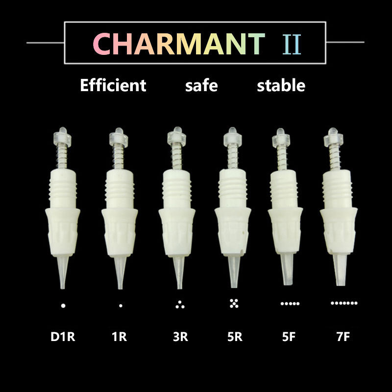10PCS 1R/D1R/3R/5R/5F/7F Disposable Tattoo Permanent Makeup Needle Tips For Eyebrow Lip Cartridge Needle Apply To CHARMANT 2